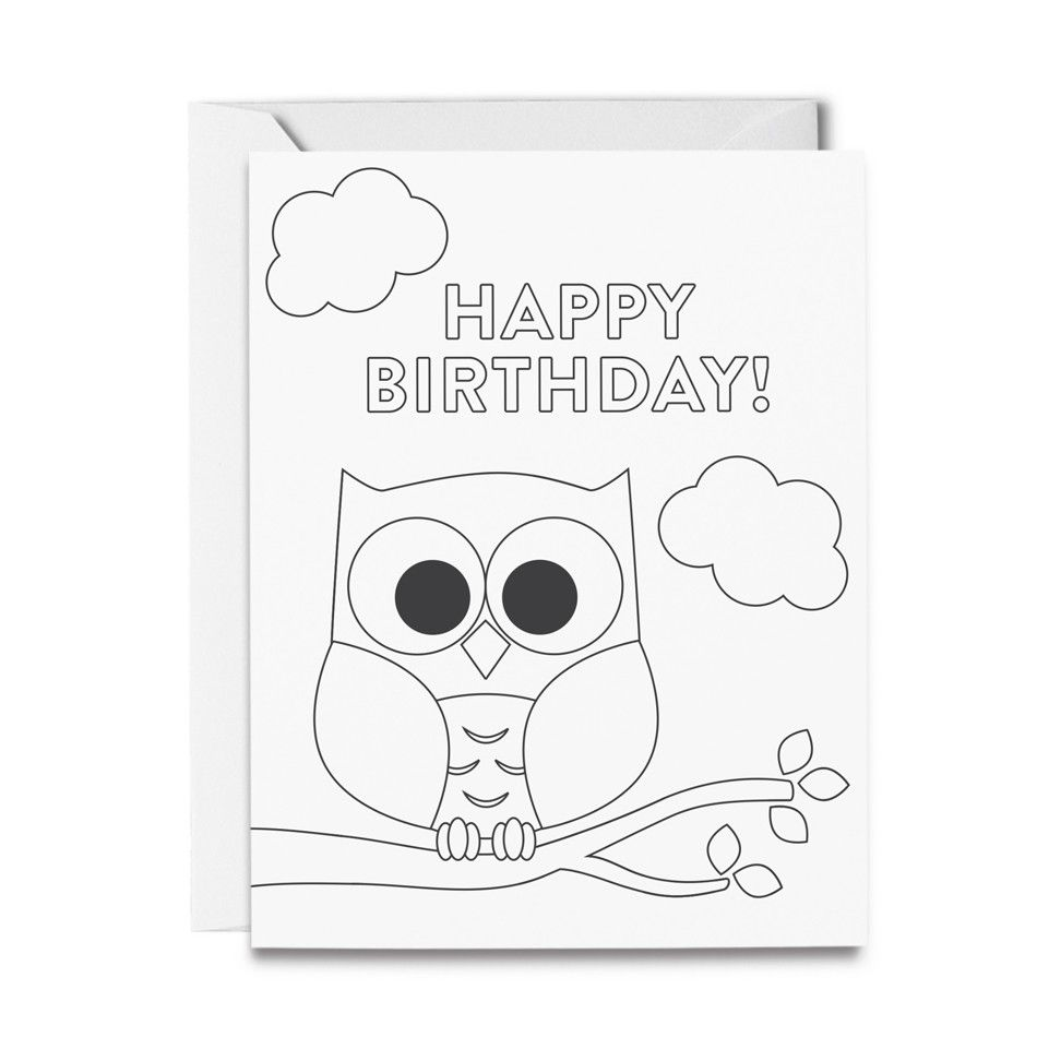 Owl Birthday Coloring Card Owl Birthday Personalized Gifts For Kids Color Card