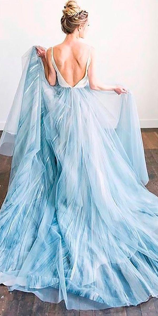 21 Adorable Blue Wedding Dresses For Romantic Celebration Blue Wedding Dresses Wedding Dress Guide Beach Wedding Dress