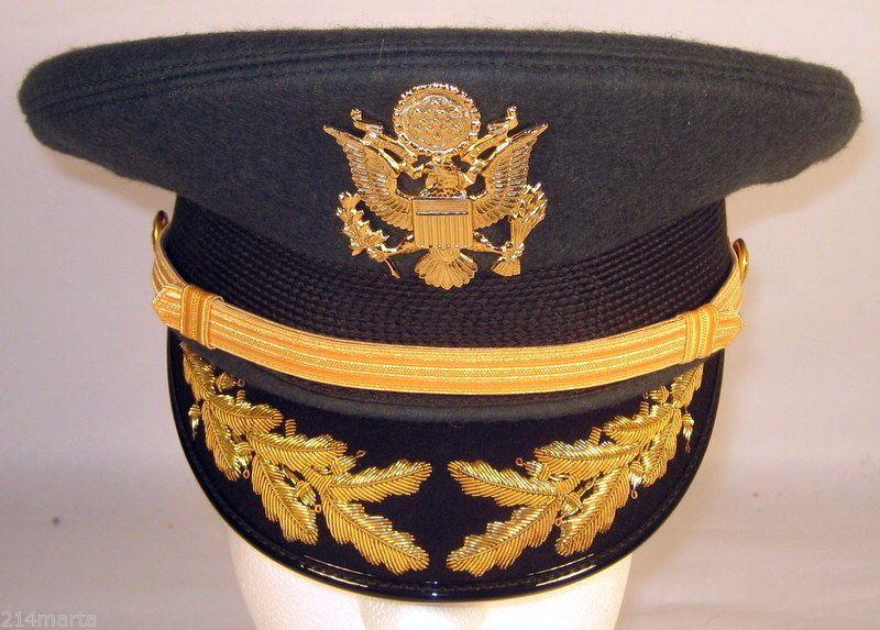 6fb0c2e0ba1a US Army Field Grade Officer Service Dress Greens Hat Cap Bullion 6 7/8 or 55