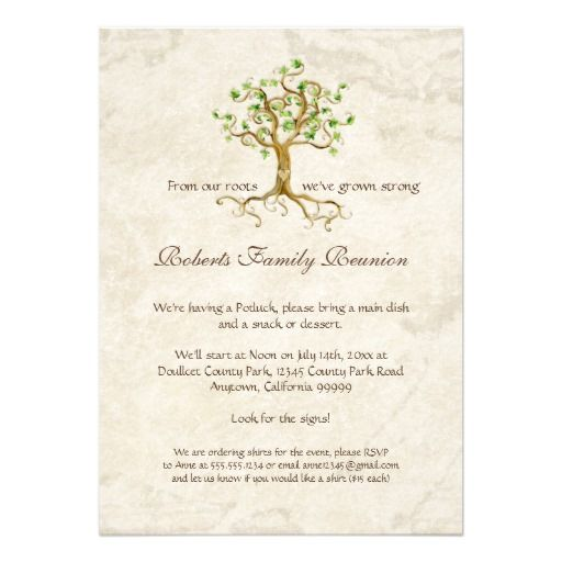 Swirl Tree Roots Antiqued Family Reunion Invite  Family Reunion