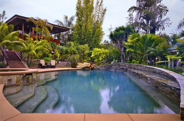 Pool Tropical Landscaping Ideas pool, spa, waterfall, stone, palm trees swimming pool landscaping