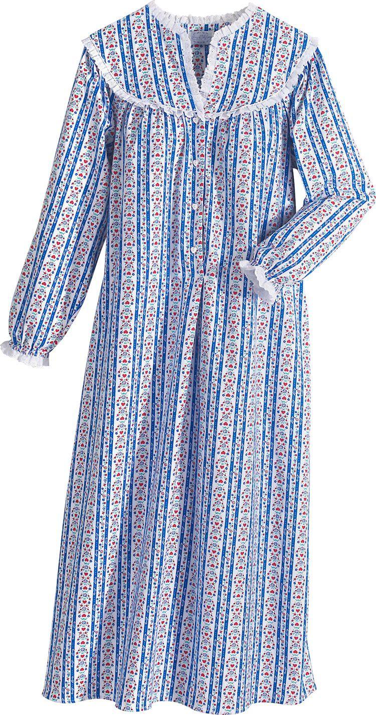 Lanz Of Salzburg Tyrolean Print Flannel Nightgown Night