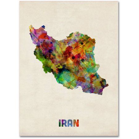 Trademark fine art iran watercolor map canvas art by michael trademark fine art iran watercolor map canvas art by michael tompsett size 18 x gumiabroncs