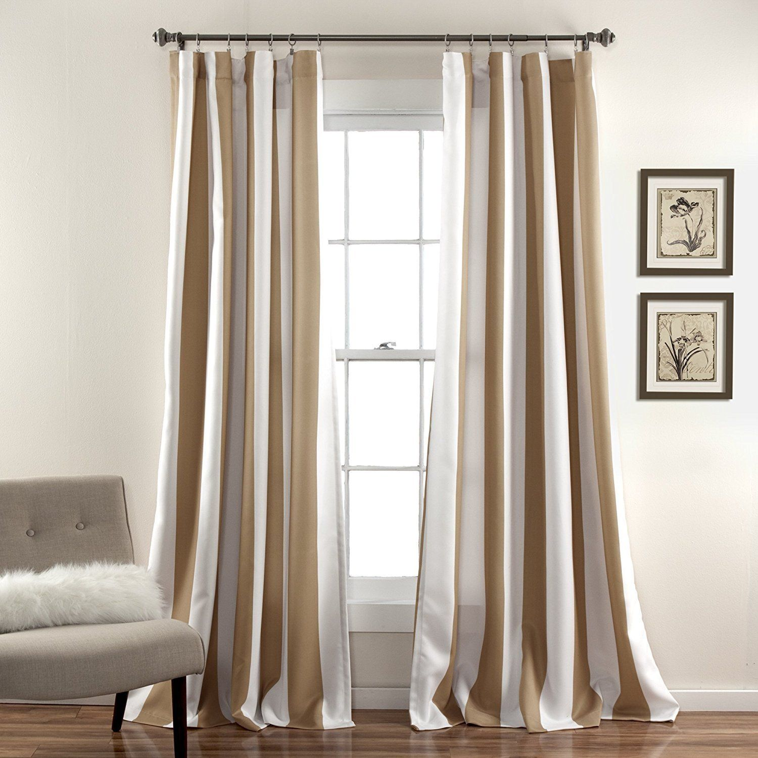 84 Inch Taupe White Rugby Stripes Curtains Pair Panel Set Brown