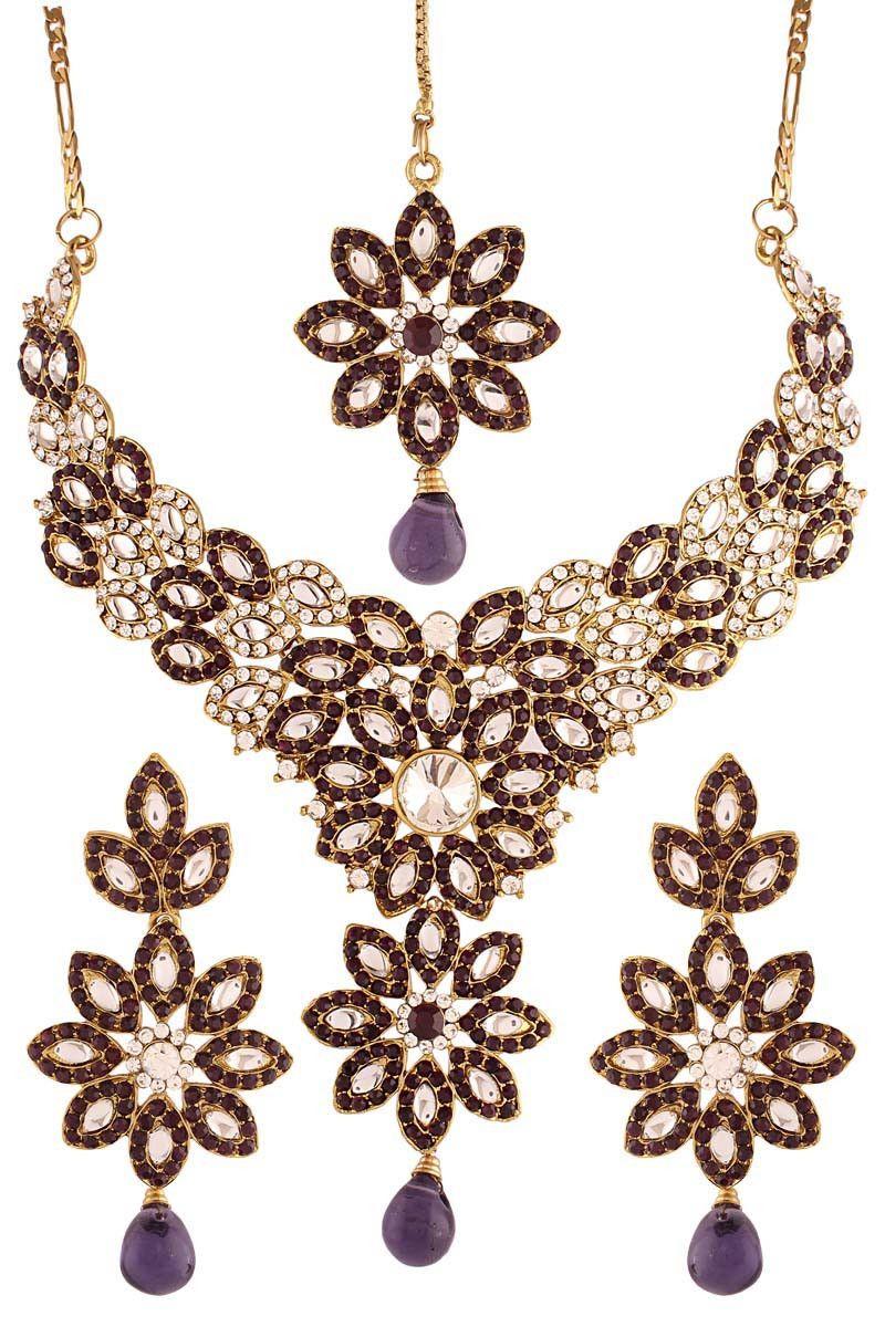 Purple Gold Plated Kundan Necklace Set