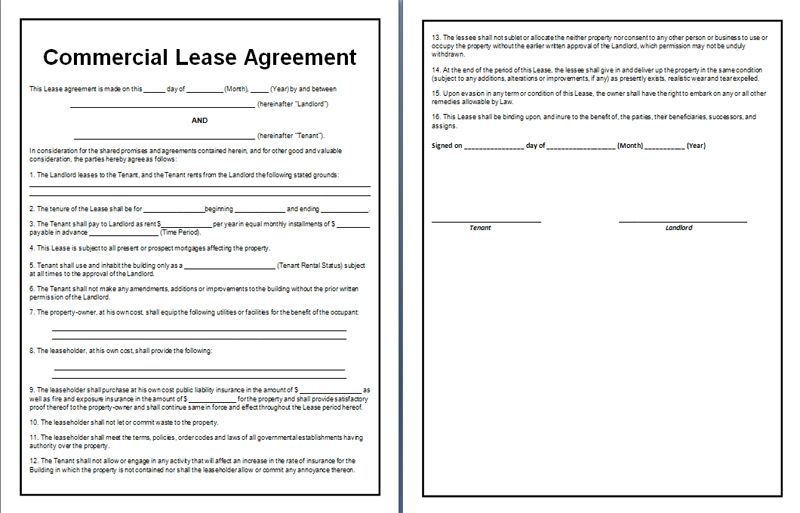 Commercial Lease Agreement  Office Templates