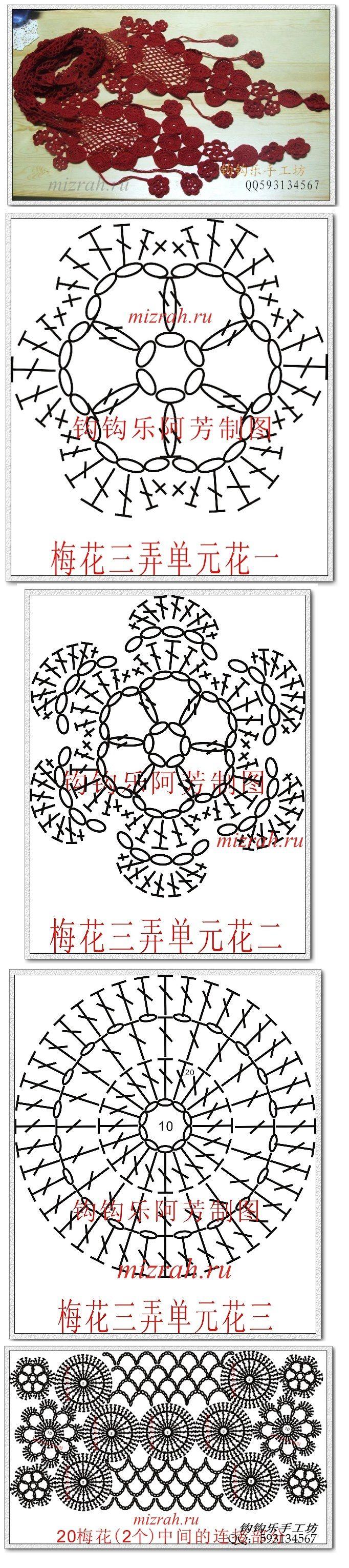 Inusual anzuelo circular bufanda - esquema   Patrones   Pinterest ...