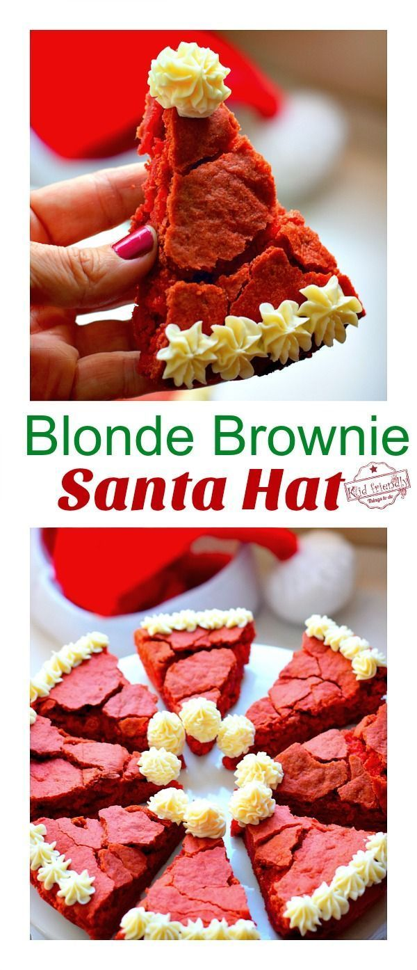 This Blonde Brownie Santa Hat Christmas Dessert Recipe is cute, easy and delicio... - Christmas / New year - Blonde Brownie Santa Hat Christmas Dessert Recipe is cute, easy and delicio... - Christmas / New year -
