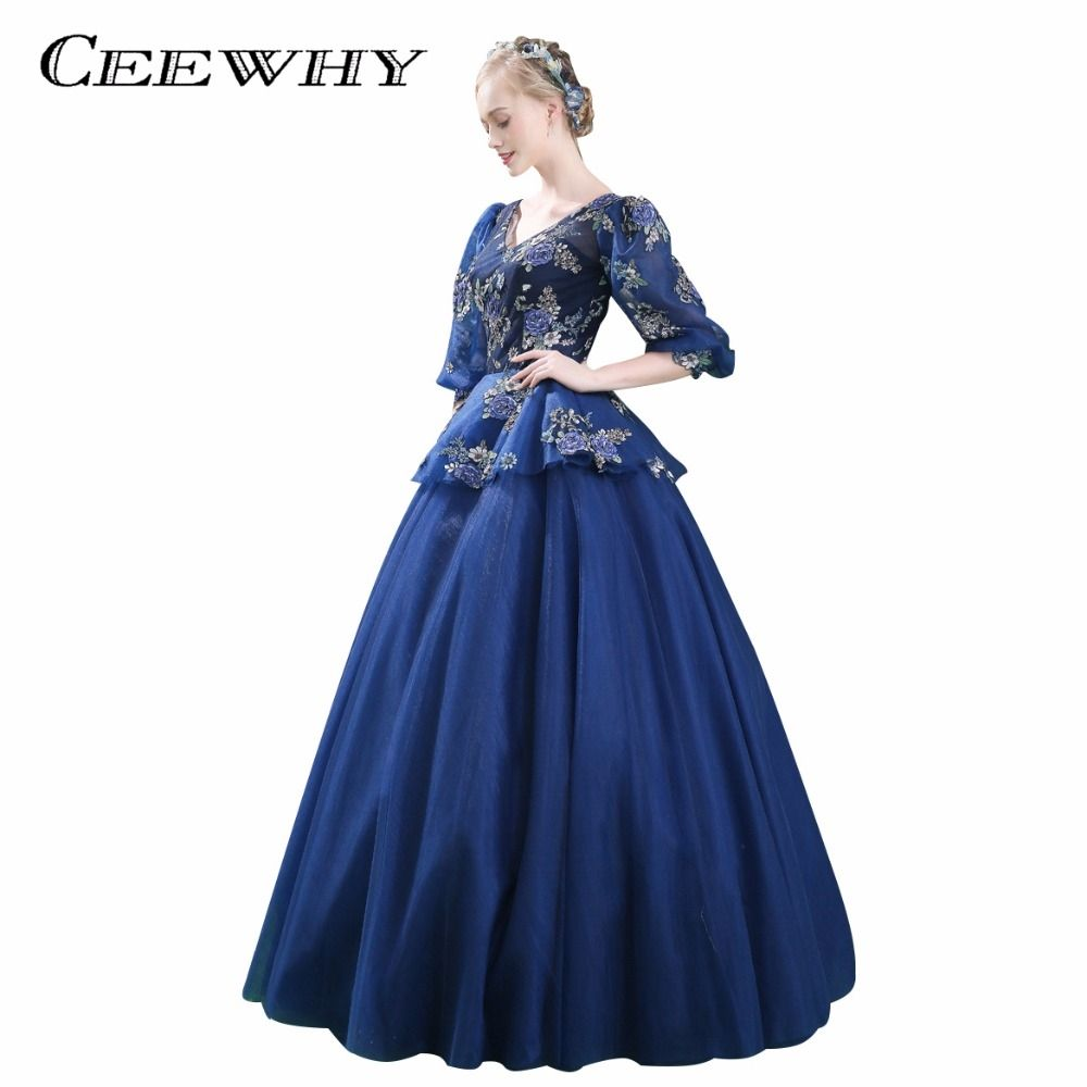 CEEWHY Vintage Evening Dress Half Sleeves Ball Gown Prom Dress Sexy V-Neck  Formal Dress 2a8950095b4f