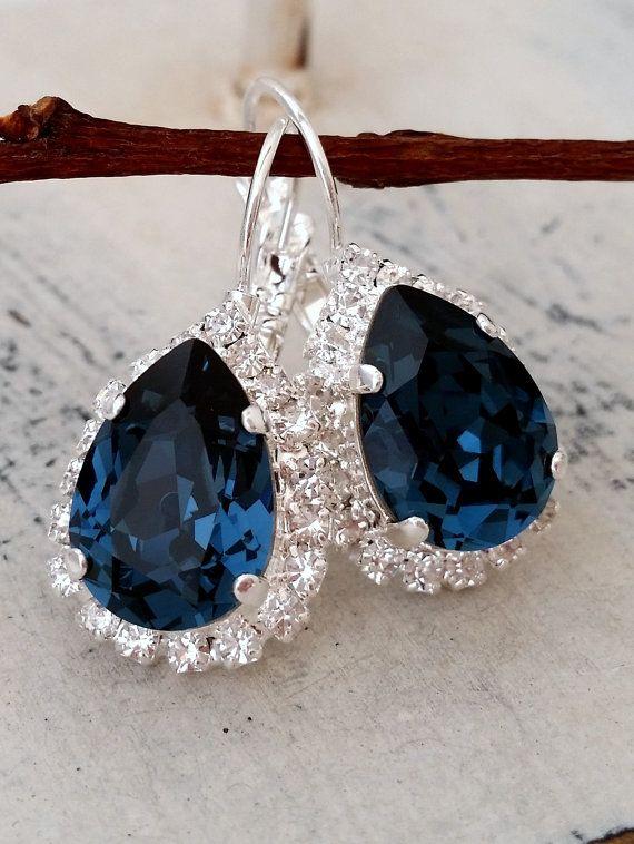 02516cff18a70 Navy Blue earrings,Blue earrings,Bridal earrings, Bridesmaids gift ...