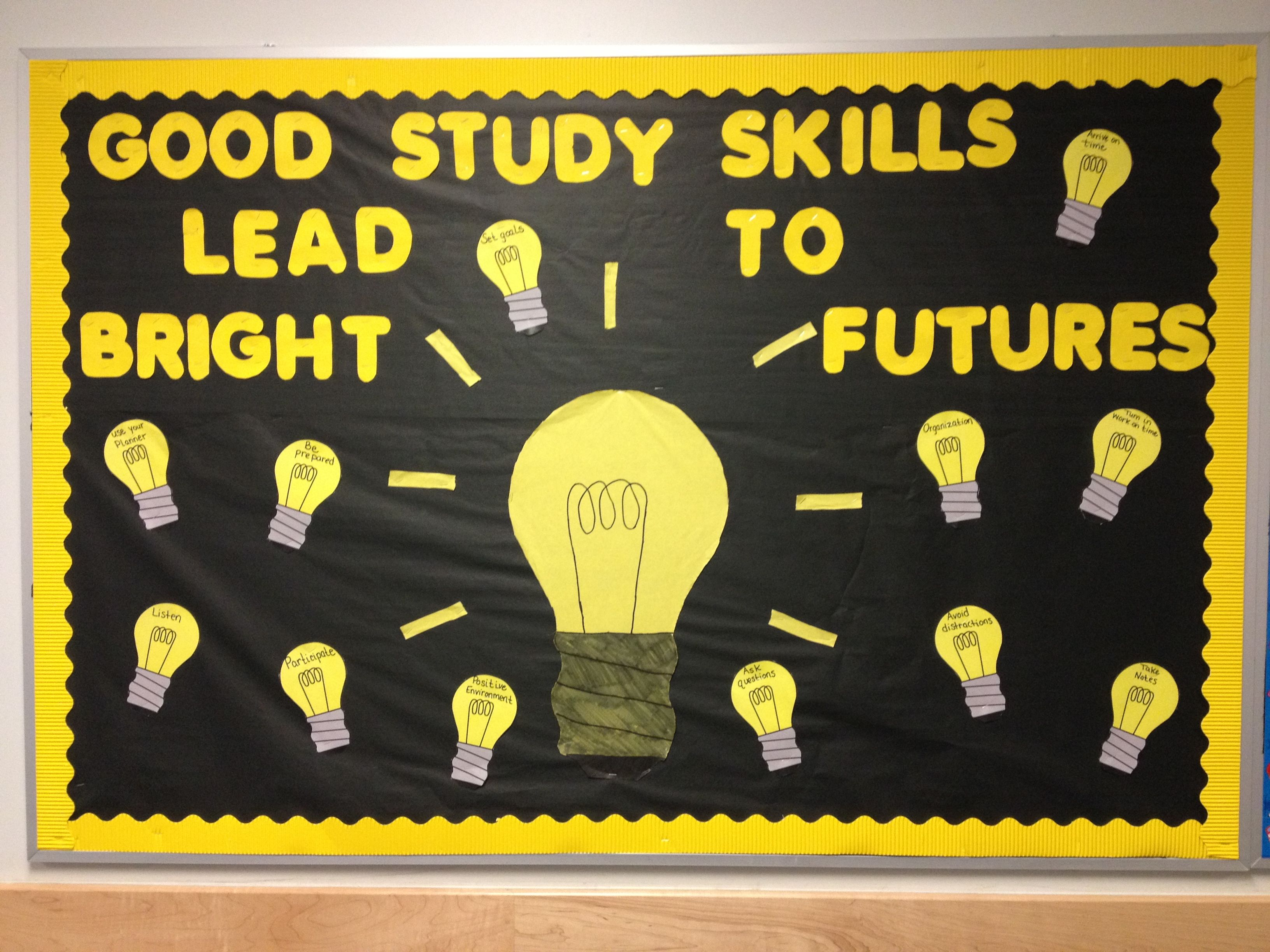 Study Skills Bulletin Board Different Study Skills Are Written Onto The Small Light Bulbs