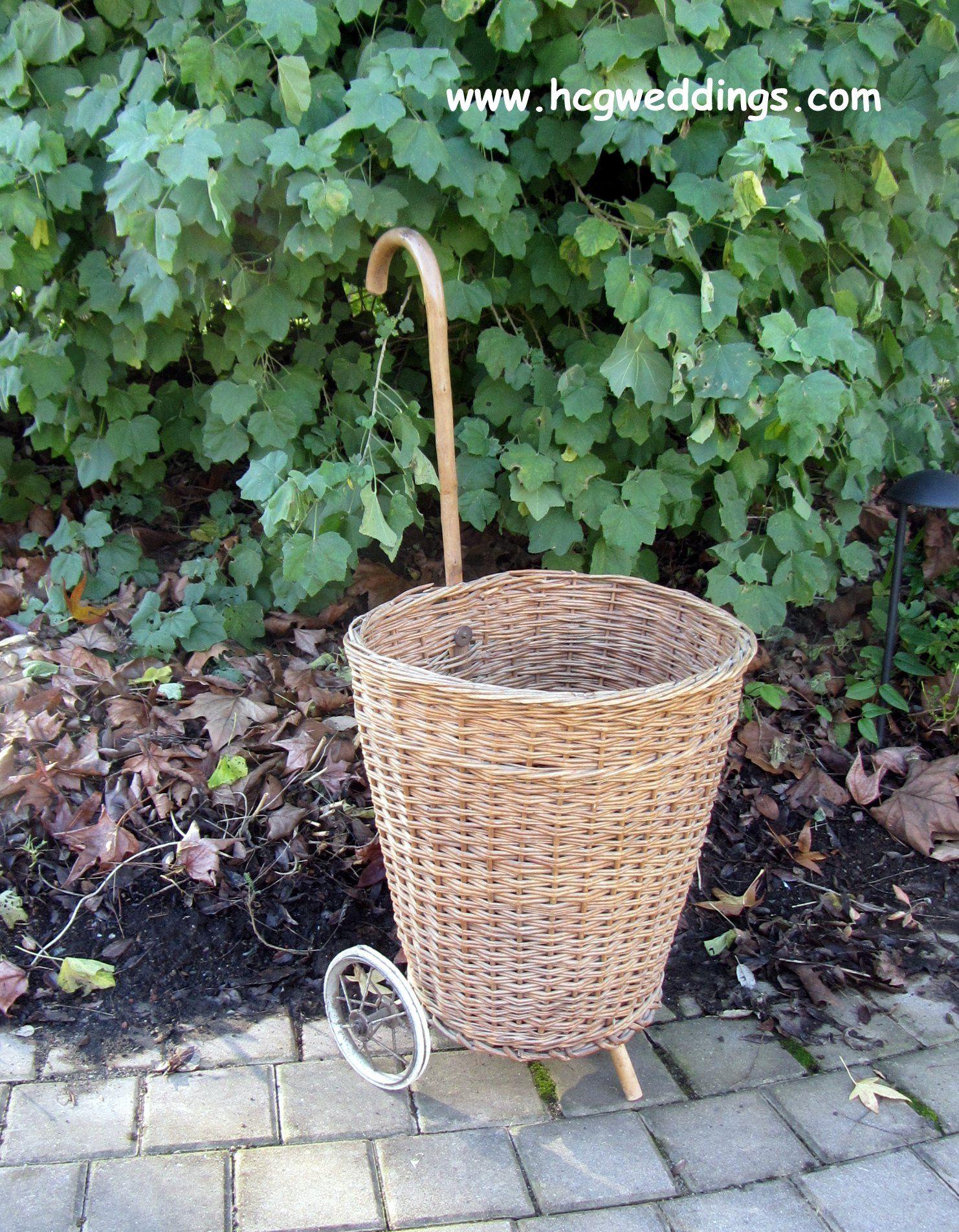 Vintage Wicker Shopping Trolley Basket Case
