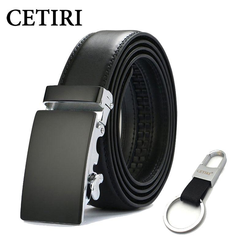 Fashion Men/'s Cowhide Leather Belt Automatic Buckle Belt Design Ratchet Strap
