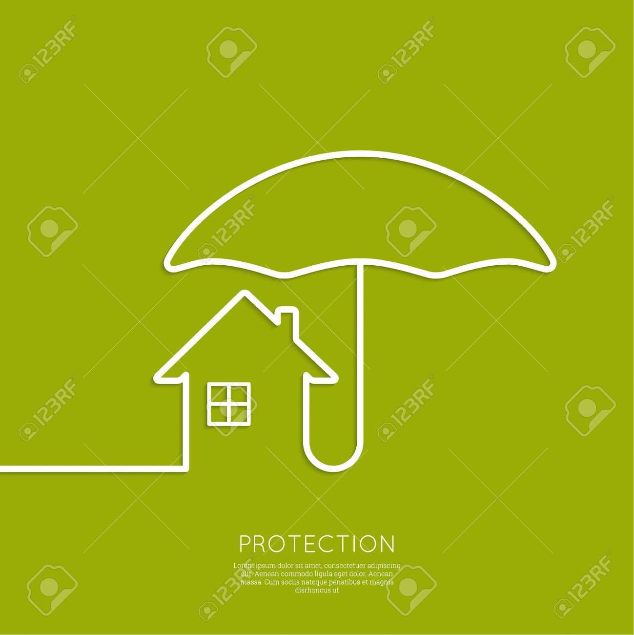 Symbol Of The House Under The Protection Of An Umbrella Insurance