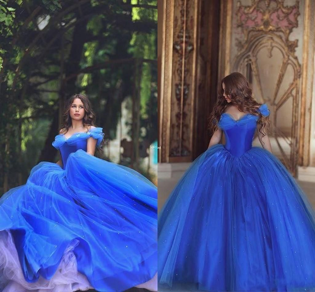 Cinderella Prom Dresses Off Shoulder Pleats Ice Blue Puffy Princess ...
