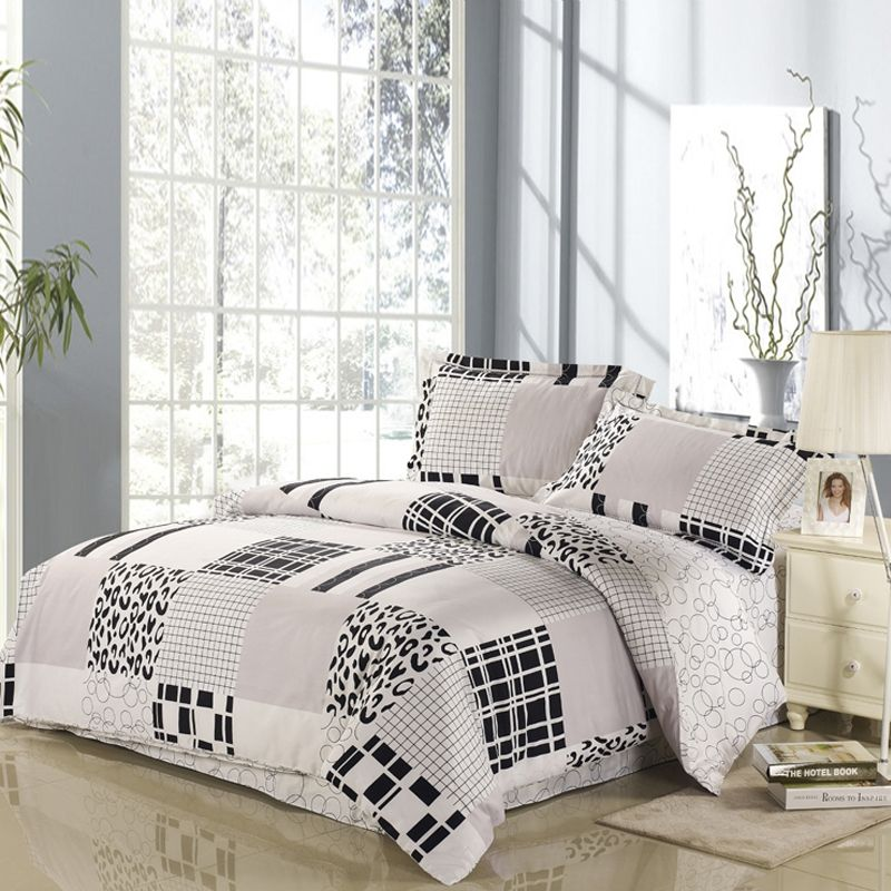 Cheap Black and White Print Full, Queen Size Bedding Sets