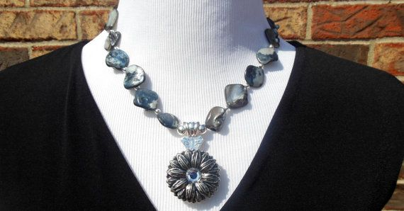 Statement Necklace   steel blue mother of pearl by CopperTowneGems, $69.00