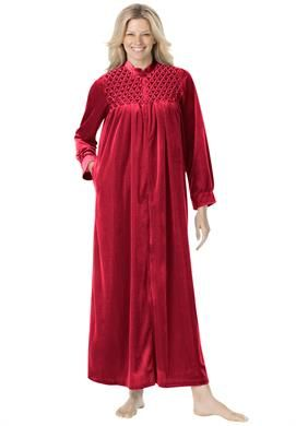 ca9dd9090b Smocked velour zip-front robe by Only Necessities®