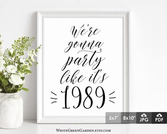 30th Birthday Party Decoration Ideas For Women Men Centerpiece Center Piece 30 Years Sign Anniversary 1989 INSTANT DOWNLOAD Printable