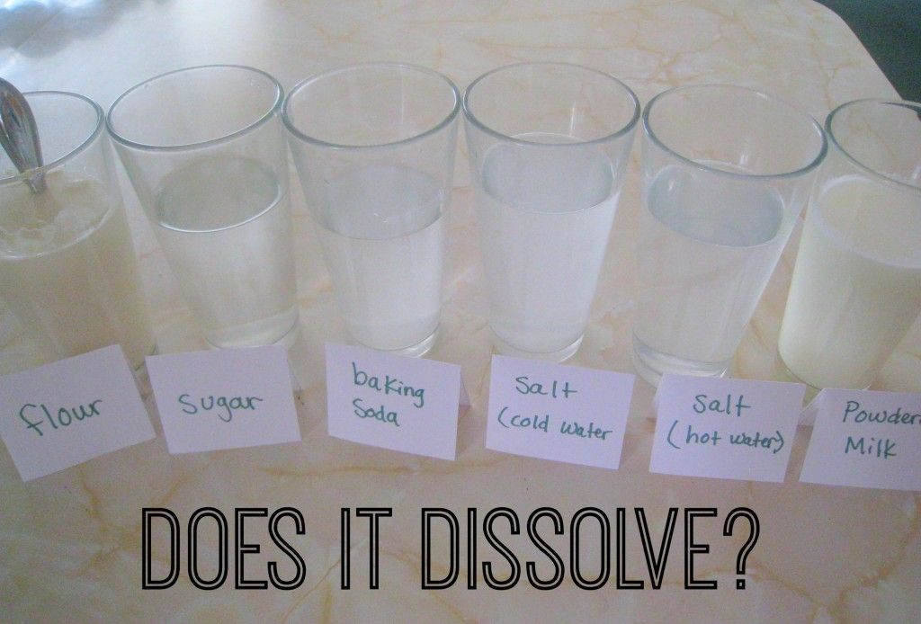 Dissolving Science Experiment What Dissolves In Water With Images Kitchen Science Experiments Science Experiments Kids Easy Science Experiments