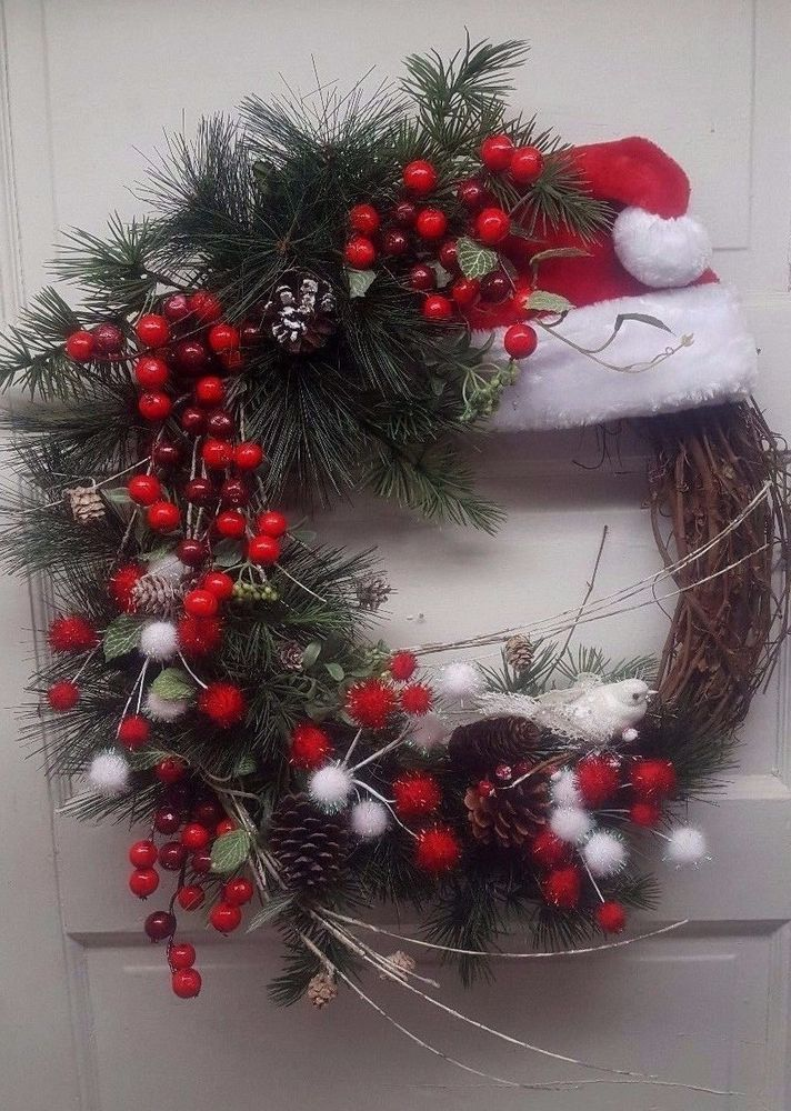 ea1eb45c0b698 Beautiful Red and White Santa Hat Christmas Holiday Grapevine Wreath for  Door