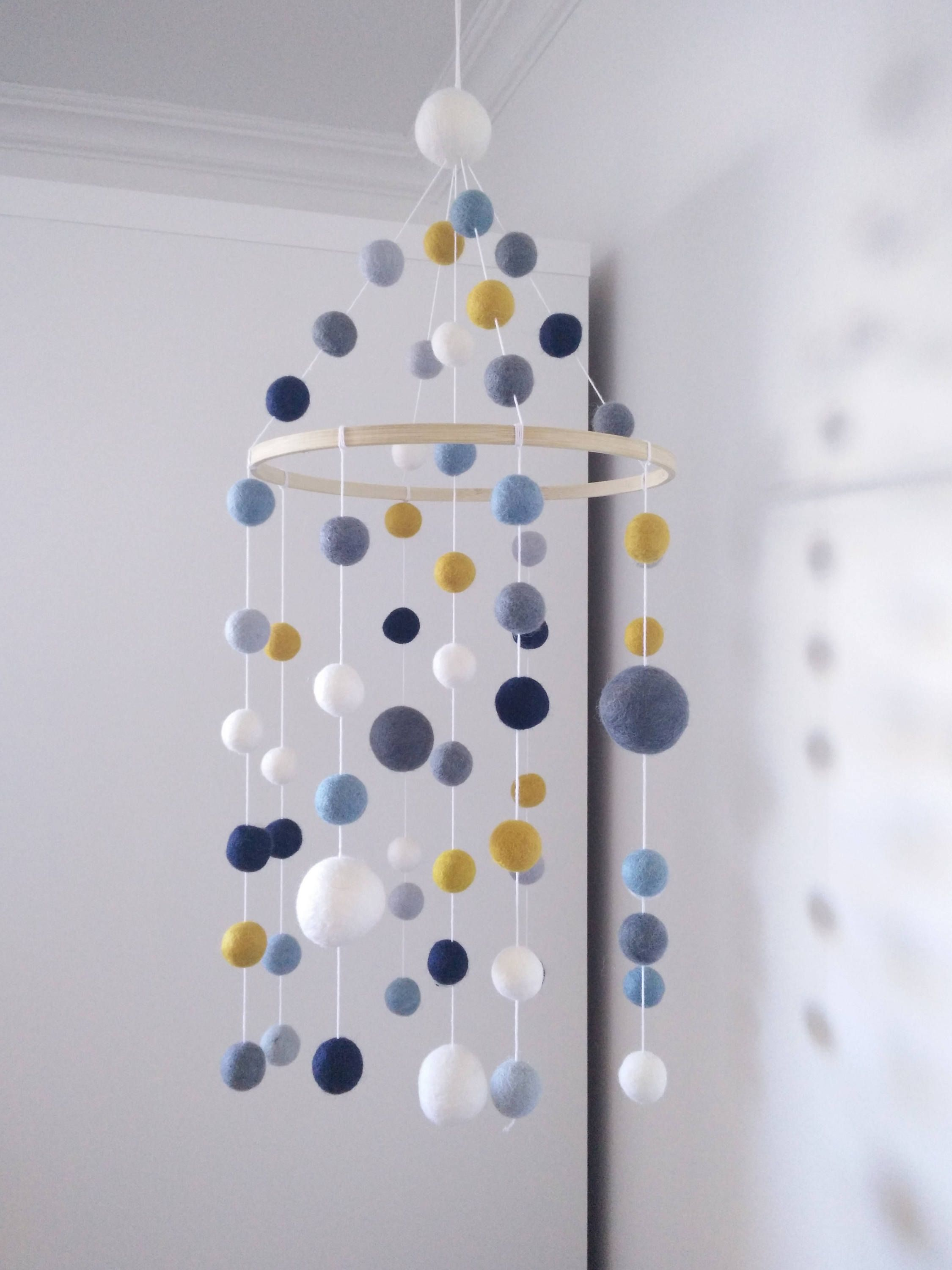 nursery mobile shades of blue and grey yellow mustard white baby mobile crib mobile felt balls. Black Bedroom Furniture Sets. Home Design Ideas