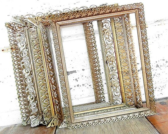 set of 5 extra ornate 8x10 metal frames five 8 x 10 gold metal antique - Metal Photo Frames