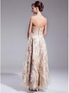 Photo of A-Line/Princess Sweetheart Ankle-Length Chiffon Wedding Dres…