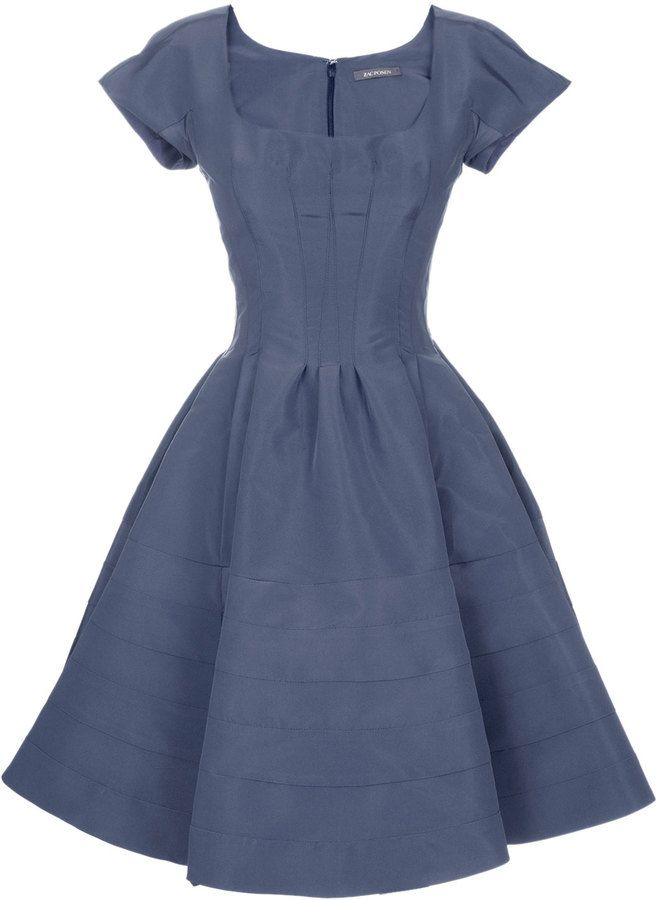 e5eac700662 Zac Posen Short Sleeve Flared Party Dress on shopstyle.com