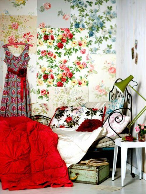 Farbgestaltung Fürs Jugendzimmer U2013 100 Deko  Und Einrichtungsideen   Blumen  Bett Tischlampe Eklektisch Patchwork Papierreste