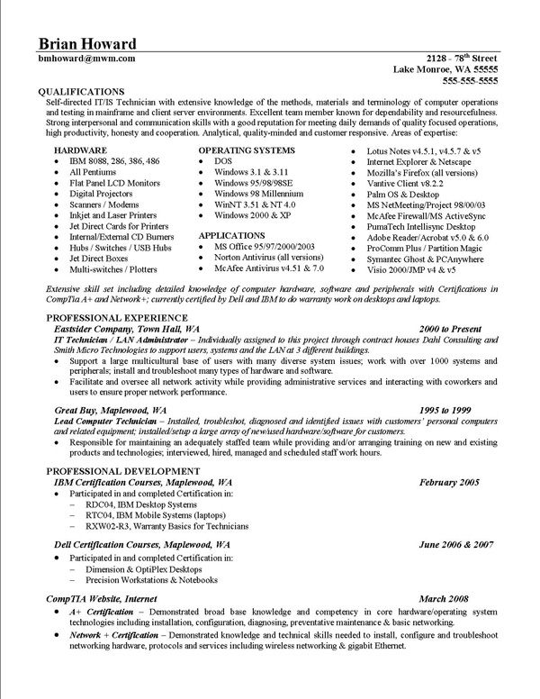 Scannable Resume Format | Template