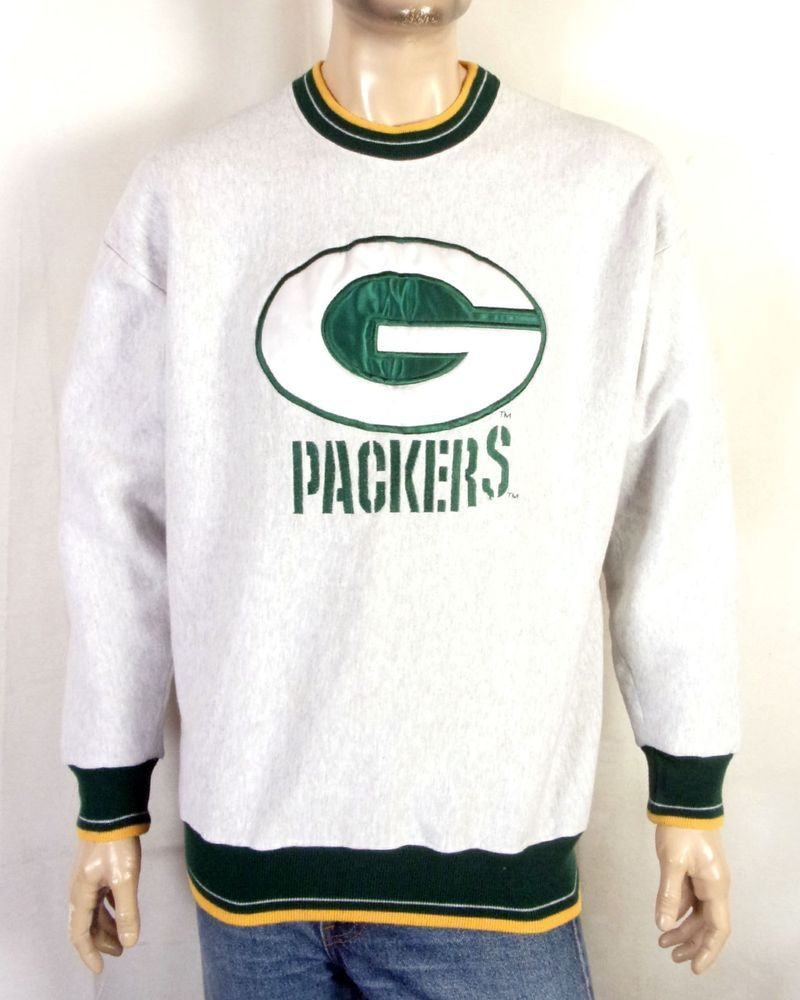 vtg 90s Legends Sewn Embroidered Green Bay Packers Sweatshirt NFL Favre Era  XL 096f12a23