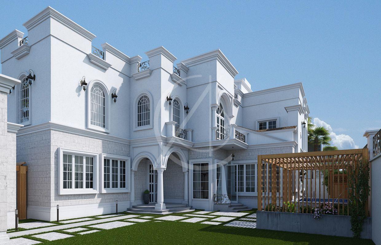 A classic saudi arabian villa exterior design and landscape design with a white cladding perfect for the hot saudi climate classicexteriordesign