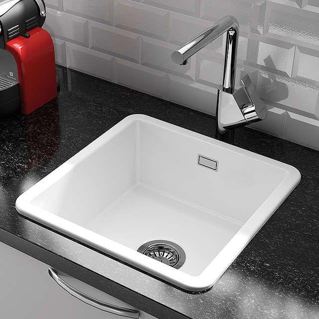 BuyClearwater Metro Small Single Bowl Ceramic Kitchen Sink, White ...