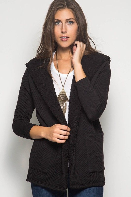 LONG SLEEVE TEXTURED HOODED CARDIGAN WITH SHEARLING FLEECE ...