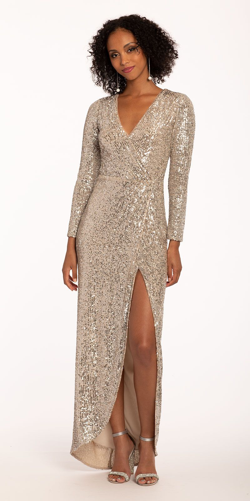 Long Sleeve Surplice All Over Sequin Dress Dresses Sequin Dress Long Sleeve Sequin [ 1600 x 800 Pixel ]