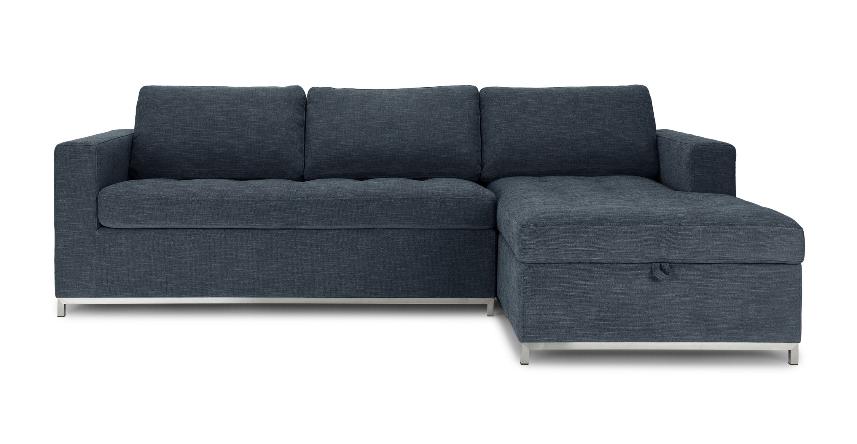 Dark Blue Sofa Bed Right Sectional Metal Legs