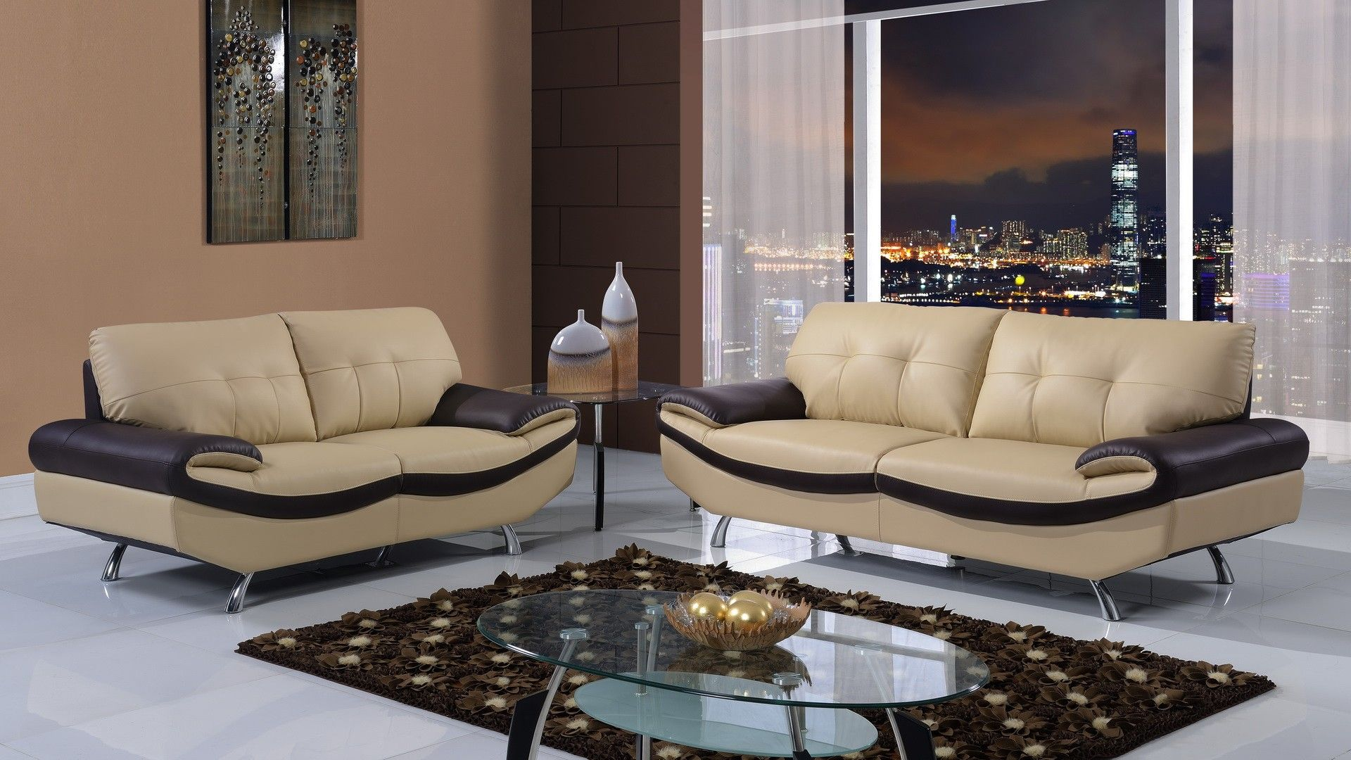 Global UFM123 CAPP CH Sofa Loveseat Chair Modern set in the living
