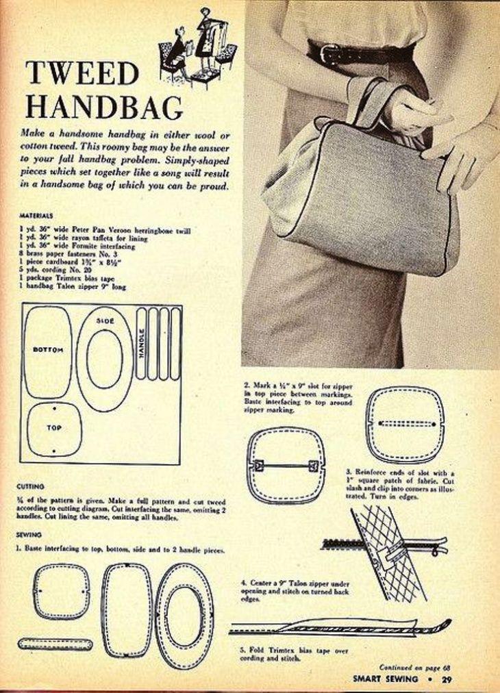 4cb1579141bf Выкройка сумки 1953г / Простые выкройки / ВТОРАЯ УЛИЦА | textile ...