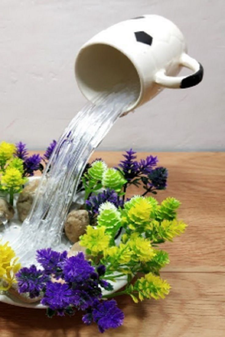 How To Make Beautiful Cup Waterfall Fountain Show Piece (VIDEO)  #fountaindiy