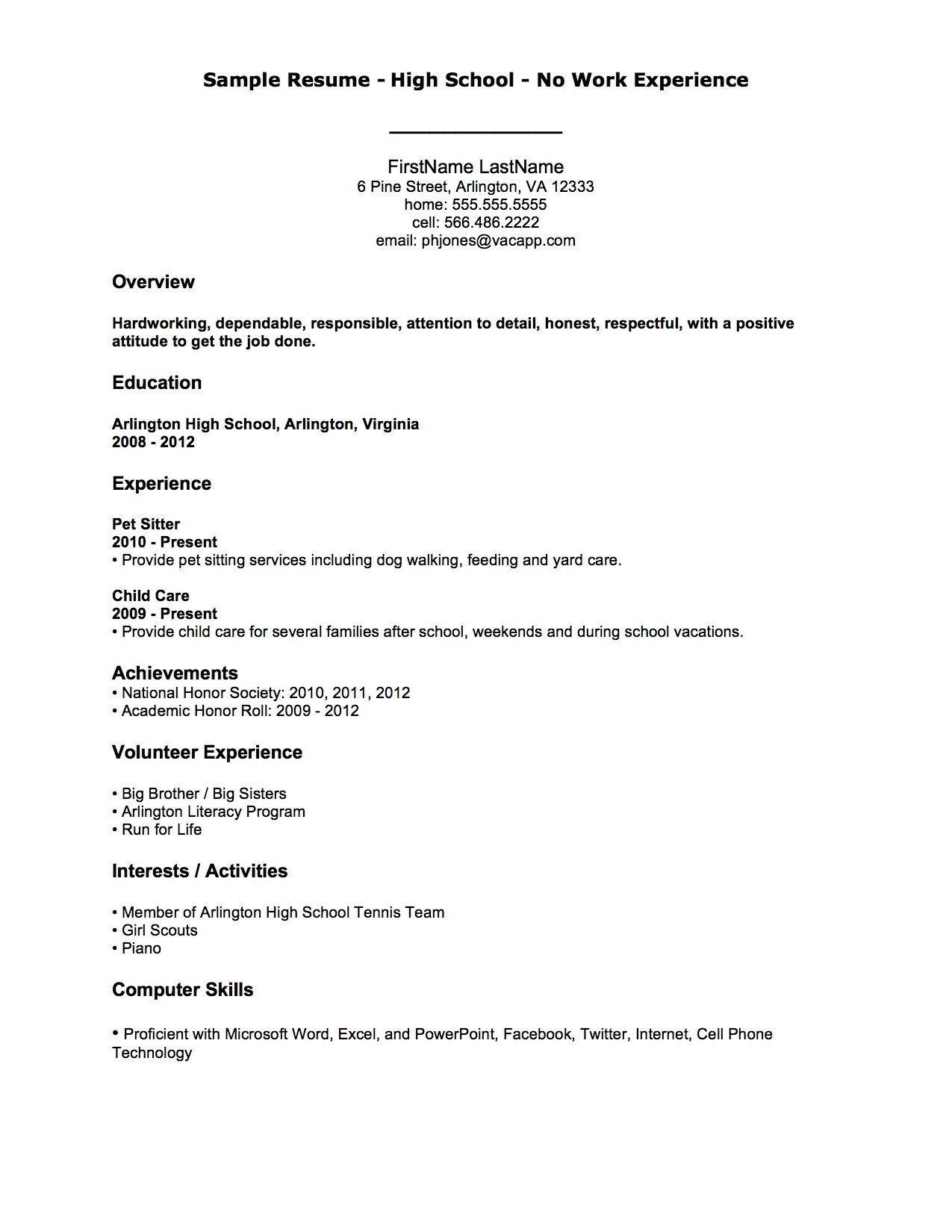 Examples Of Resumes For Highschool Students With No Experience