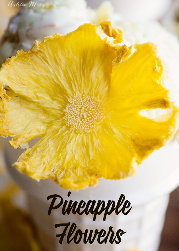 Homemade Pineapple Flower tutorial. These pineapple flowers are super easy to make and perfect for adding to cakes, brownies, ice cream dinner plates – anything that has pineapple in it! You just have to make them the day before so they have time to dry.