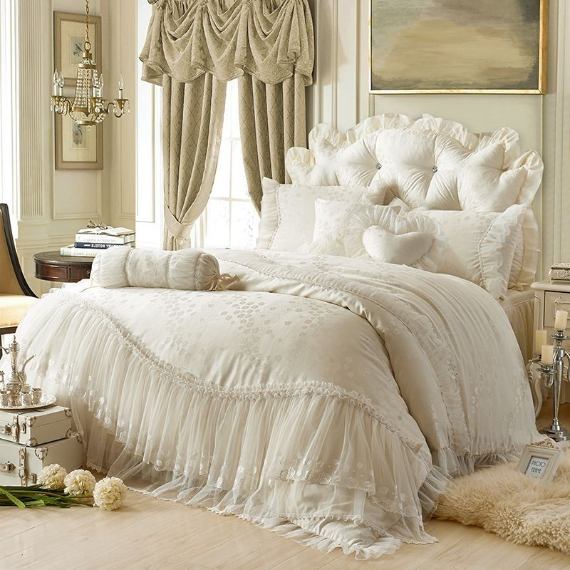 Sophisticated Elegant Beige Flower Print Vintage Victorian Lace Romantic Gathered Ruffle Jacquard Twin Full Queen Size Bedding Sets Luxury Bedding Sets Duvet Bedding Sets Bed Linens Luxury