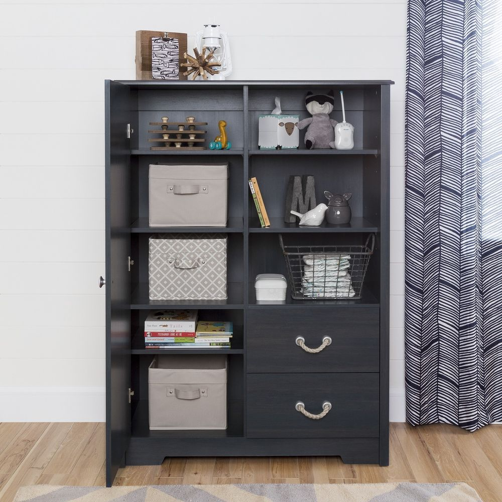 Kids Clothing Storage Wardrobe Closet For Clothes Armoire With Drawers Blue  #SouthShoreFurniture