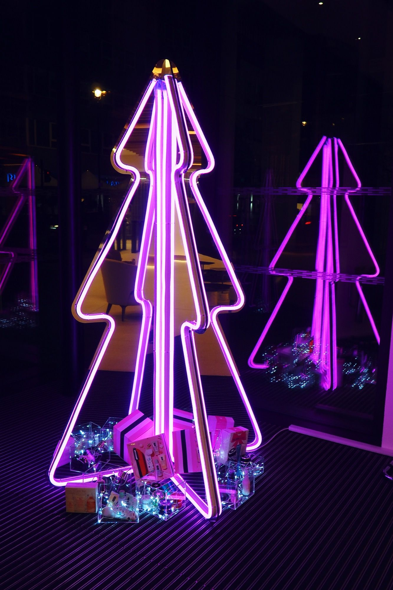 I M So Pleased With The Neon Christmas Tree Installation I Created For Estee Lauder Uk Diy Christmas Tree Christmas Lights Hanging Christmas Lights
