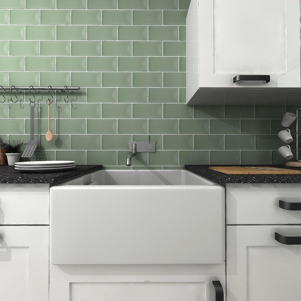 Metro Sage Gloss Tiles Walls And Floors Brick Tiles Kitchen