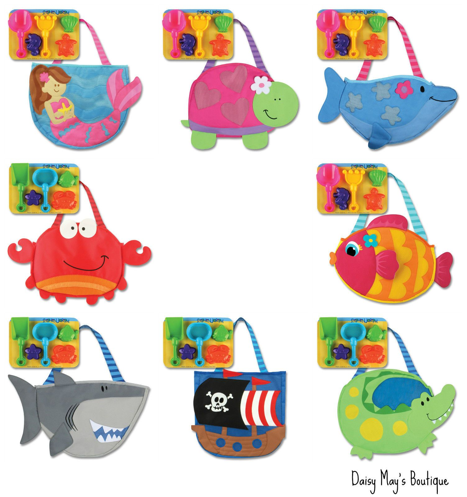 Details about Stephen Joseph Kids Beach Totes with Sand Toys