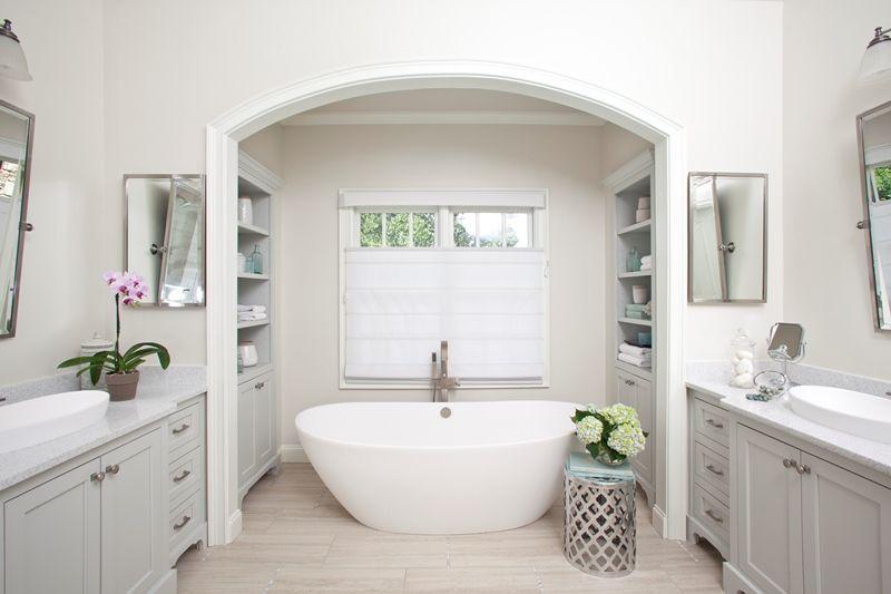 master bathroom remodel freestanding tub master bathroom renovation gray cabinetry free standing tub quartz countertops