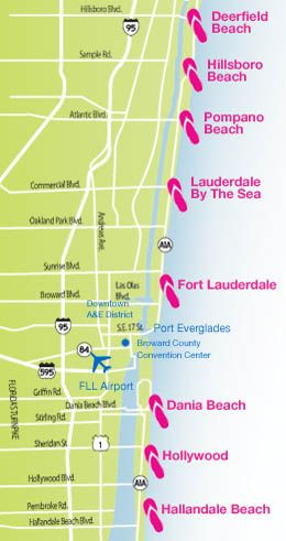 Ft Lauderdale On Map Of Florida.Greater Fort Lauderdale Beach Map We Like Sandy Toes Not Snowy