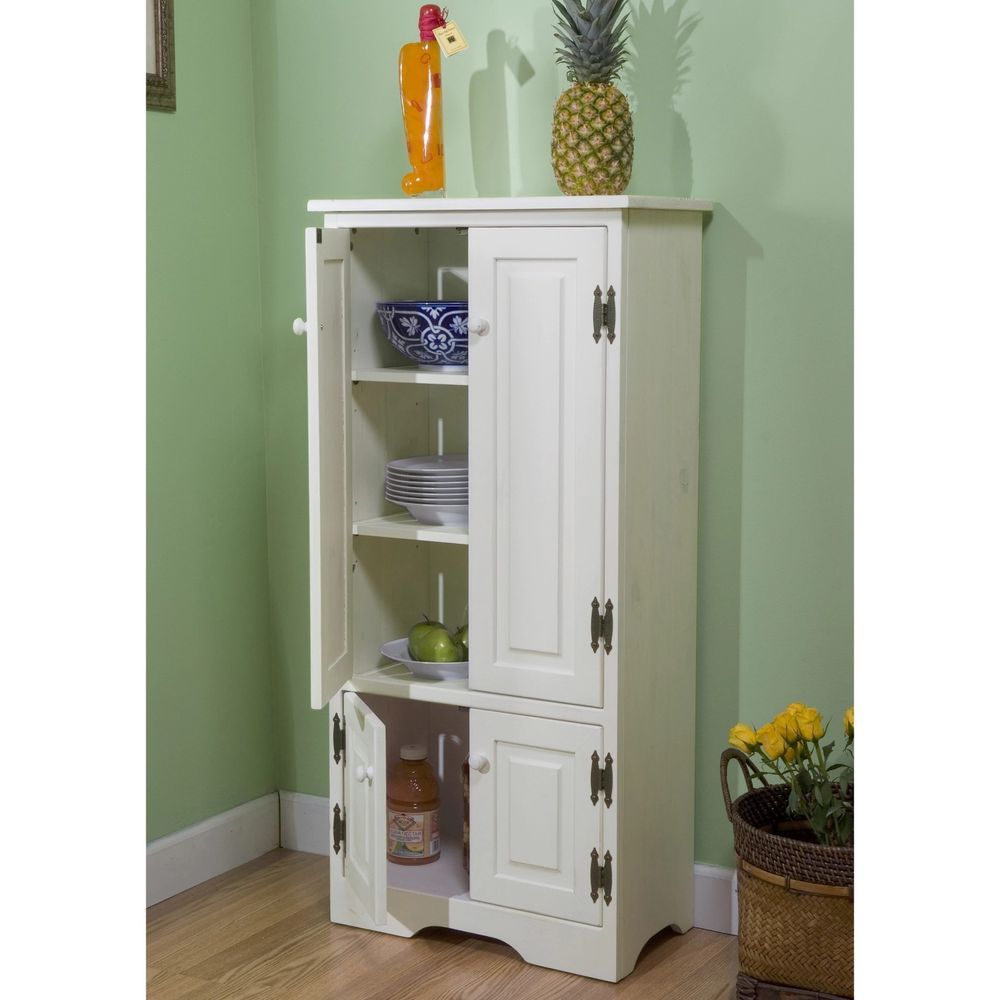 Tall Storage Cabinet Pantry Dishes Cabinet Doors Dual Linen Shelf Dish Canned #SimpleLiving